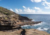 Eroded cliffs at Halona near Waikiki on Oahu