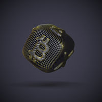 Digital golden 3D dice with cryptocurrency logos Bitcoin, Litecoin and Ripple.