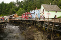 Ketchikan, Alaska/USA – August 5: Strret View Creek Street businessess and tourists exploring over Ketchikan Creek August 5, 2015.