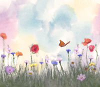 Colorful Watercolor flowers. Digital illustration.