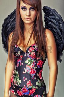 glamour sexy dark angel girl