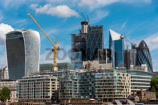 Die modernen Wolkenkratzer der City of London
