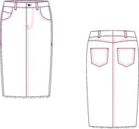 Technical drawing of midi jean skirt. Fashion template.