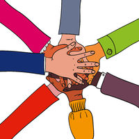 Different arms and hands of people joining together in the middle of the colorful illustration showing teamwork, diversity