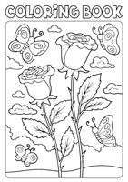 Coloring book roses and butterflies