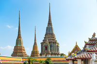 View to Temple of Reclining Buddha or Wat Pho complex in Bangkok