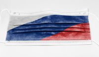 surgical mask with the national flag of Russia printed.