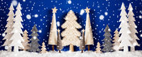 Banner, Christmas Trees, Snow, Blue Wooden Background, Snowflakes
