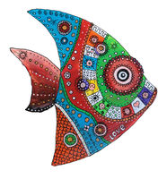 Funny cool fish painted with acrylics on a wooden surface isolated