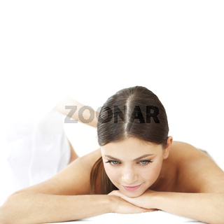 Woman at massage in spa center