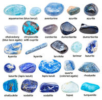 set of various blue gemstones with names isolated