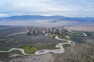 winding river on wilderness