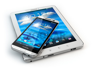 Mobile devices. Smartphone and tablet pc on white isolated background.