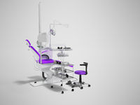 Modern dental chair with lighting with tools for drilling white with purple insets and with tools and chair for the dentist on the right 3d render on gray background with shadow
