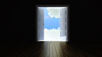 double door opening to the clouds from the dark empty room 3D rendering
