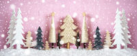 Banner, Christmas Trees, Snow, Pink Grungy Background, Snowflakes