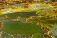 Salzlaugenpool mit Schwefelsedimenten, Geothermalgebiet Dallol, Danakilsenke, Afar Dreieck,Äthiopien