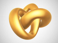 3D golden torus knot isolated on white background.