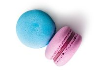 Two macaroon blue pink top view