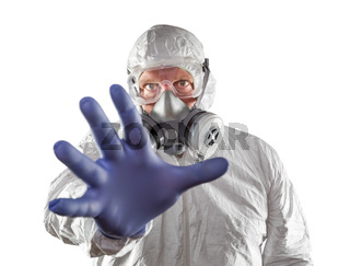 Man Wearing Hazmat Suit Reaching Out With Hand Isolated On White