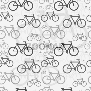 Classic bicycles, simple seamless pattern on gray