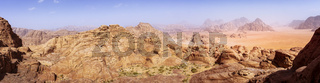 panorama of the Wadi Rum desert in Jordan as seen from Burdah Rock Mountain.