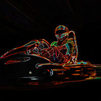 Kart racing neon light picture. Man in karting vehicle on track.