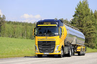 Yellow Volvo Semi Tanker on Road