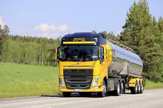 Yellow Volvo Semi Tanker on Road