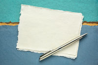 sheet of white Khadi rag paper