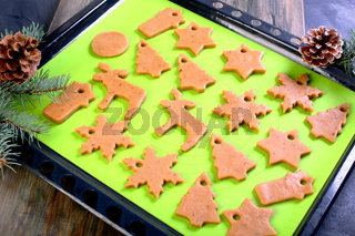 Christmas cookies on a baking tray.
