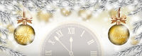 Christmas Frozen Twigs Snowfall 2 Golden Baubles Clock Header