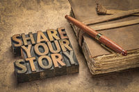 share your story word abstract in vintage wood type