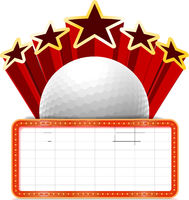 Marquee board announcement with a golf ball. Vector