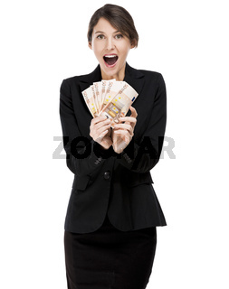 Woman holding euro currency notes