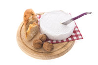 French Camembert, bread and walnuts