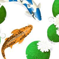 Koi fish and lotus watercolor