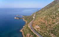 Aerial view on coast and sea near Kalo Horafi beach on Crete, Greece.