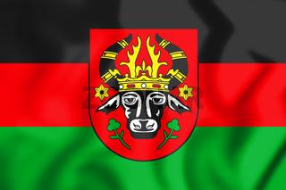 3D Flag of Parchim (Mecklenburg-Vorpommern), Germany. 3D Illustration.