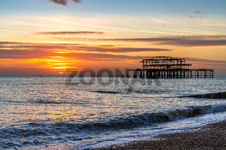 BRIGHTON, EAST SUSSEX/UK - JANUARY 8 : View of the West Pier in Brighton East Sussex on January 8, 2019
