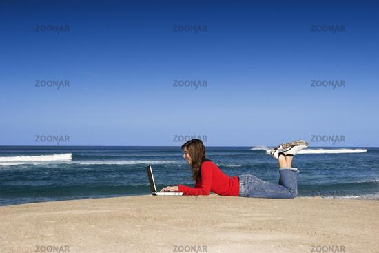 Outdoor work on laptop