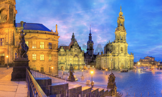 The old city of Dresden at dusk