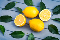 whole and sliced juicy lemons lie in a chaotic manner with blue leaves on a gray table.