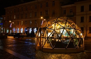 Walk along the night decorated for New Year Vilnius, Town Hall Square