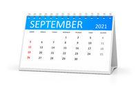 table calendar 2021 september