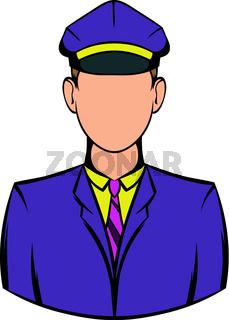Railroader in uniform icon, icon cartoon