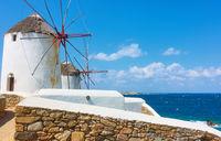 Windmillls by the sea in Mykonos island,