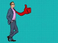 Positive businessman male, tie like gesture