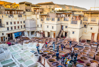 Tourists stand on stone vessels, tanneries, Fez, Morocco