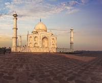 Taj Mahal in Agra, India, eastern view in the sunrays